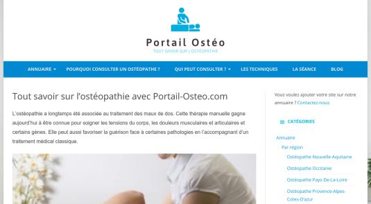 Portail web sur les ostéopathes