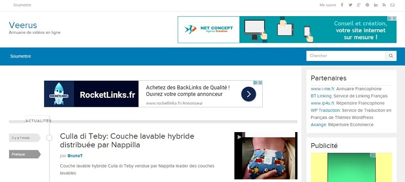 Veerus.fr: répertoire de vidéos WordPress