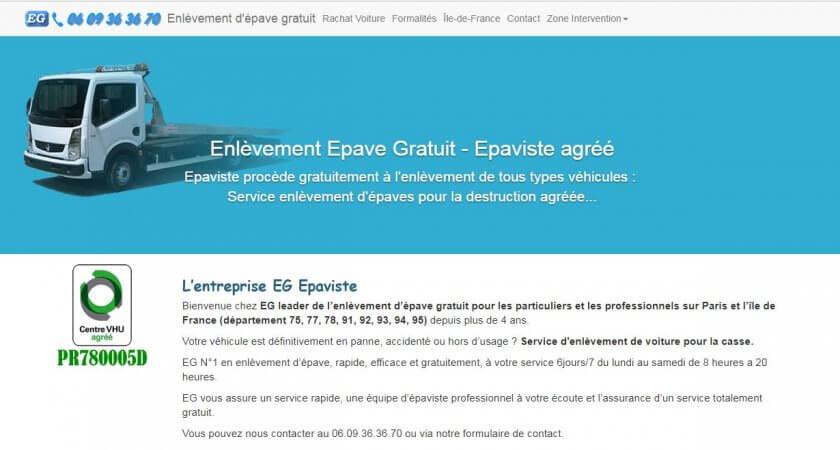 EG Epaviste, Services d'enlèvement gratuit d'épaves à Paris